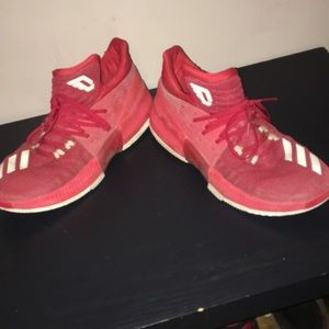 Red and white Damien lillard shoes